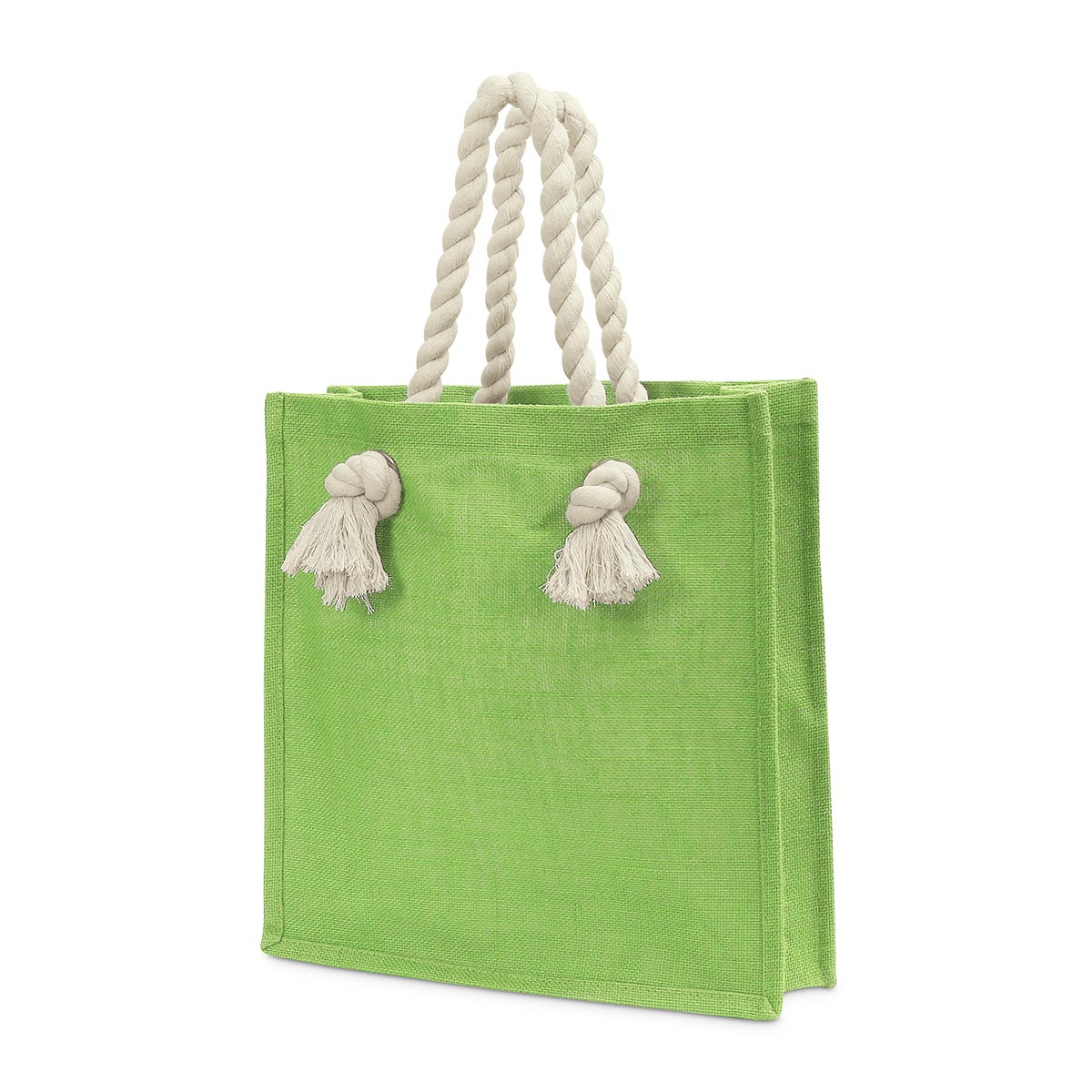 jute lime market tote, rope handle