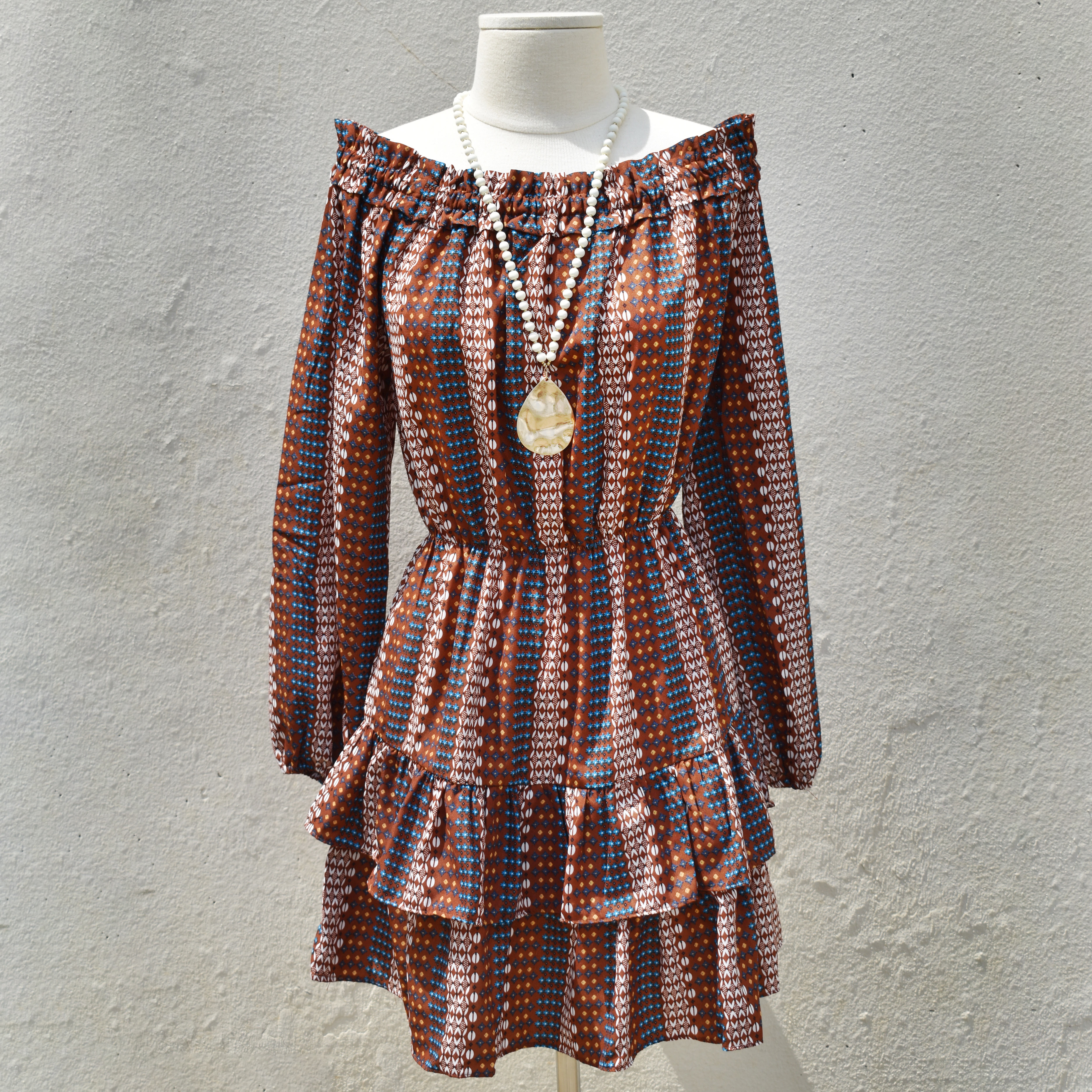 toffee tribal print off the shoulder smock dress with long bubble sleeves