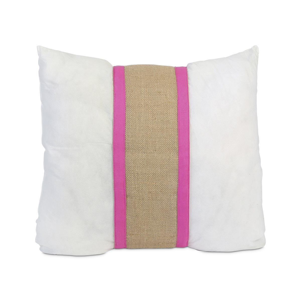 "khaki jute pillow band w/ pink, fits standard 16"" pillow"