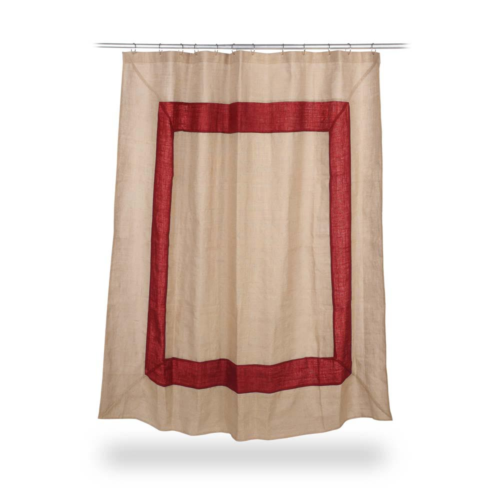 jute shower curtain with red border