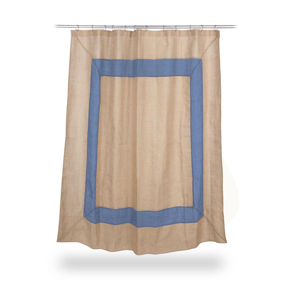 jute shower curtain with cornflower border