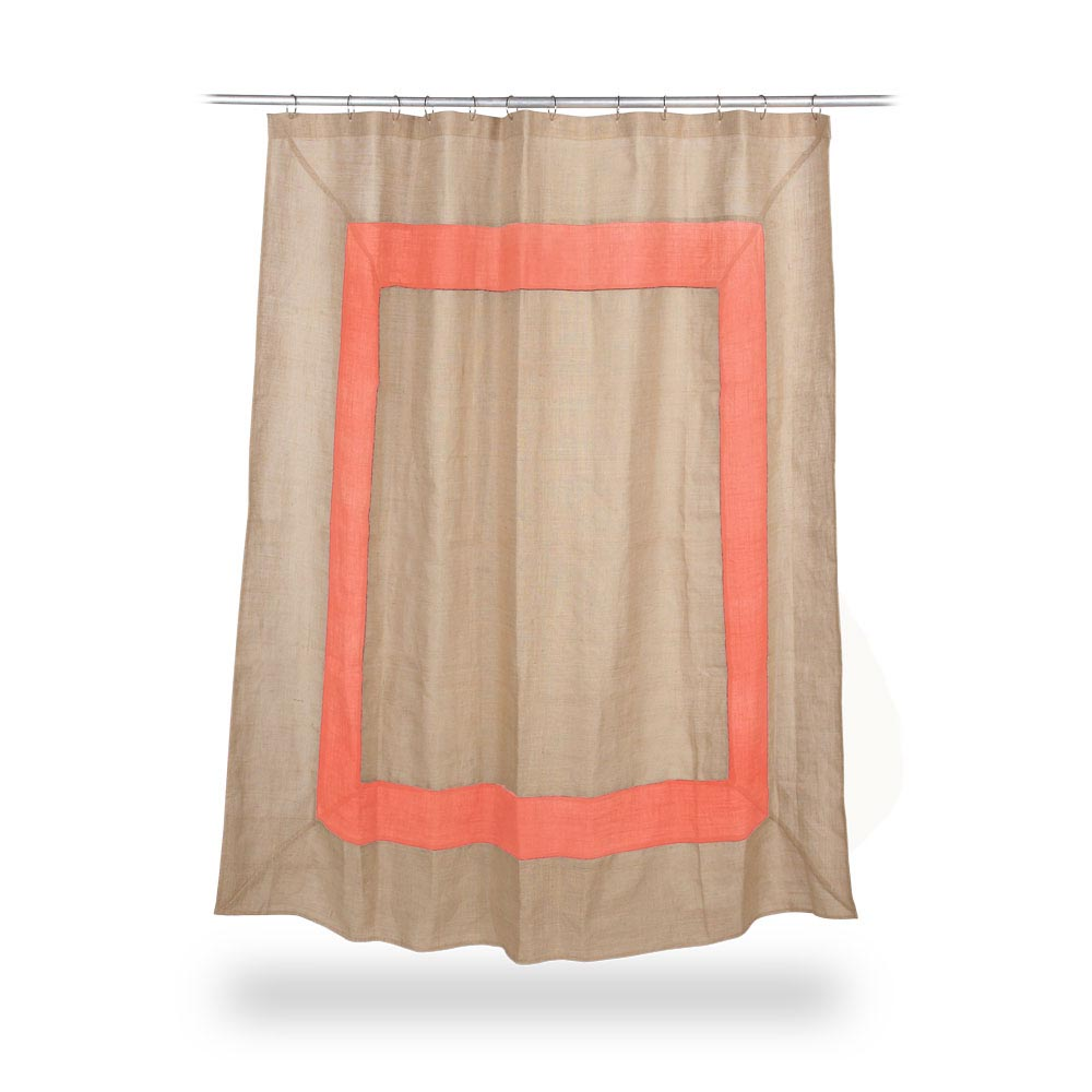 jute shower curtain with coral border