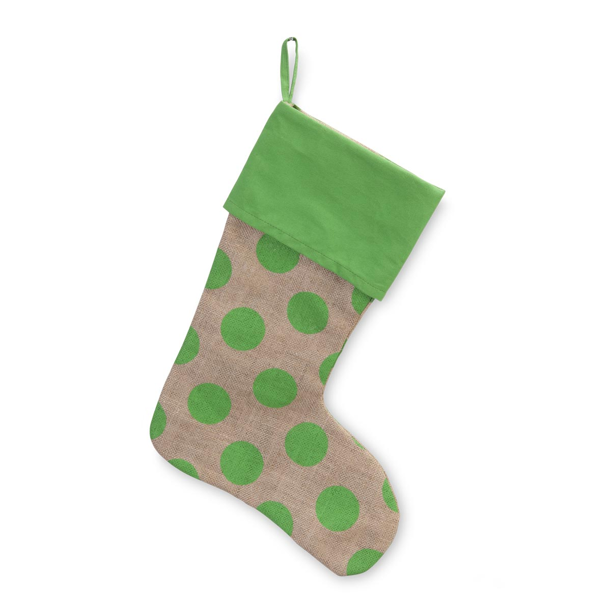 jute polka dot green stocking