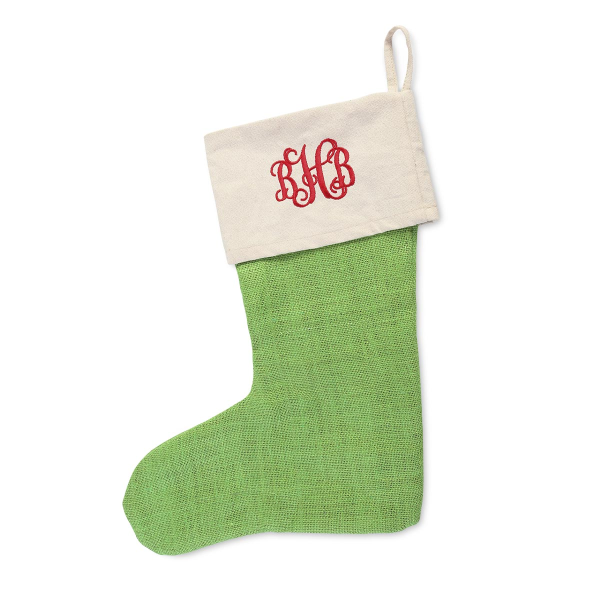 jute green stocking natural top