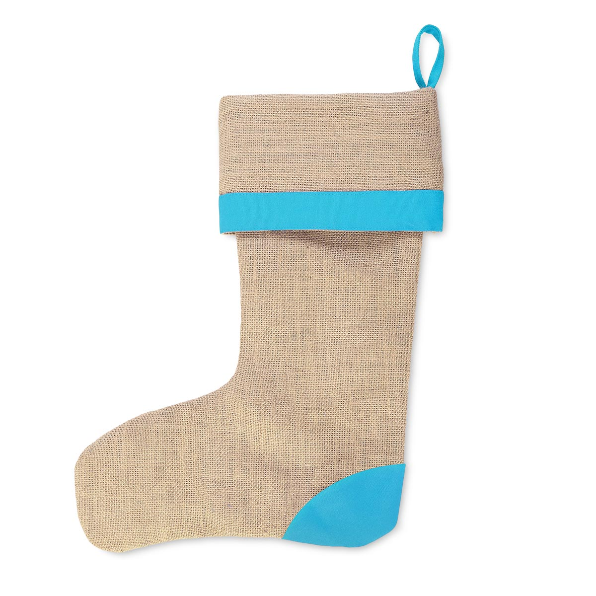 jute khaki stocking turq band trim