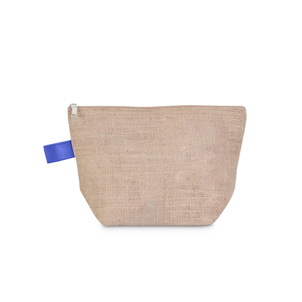 khaki jute zipper bag pouch, royal trim