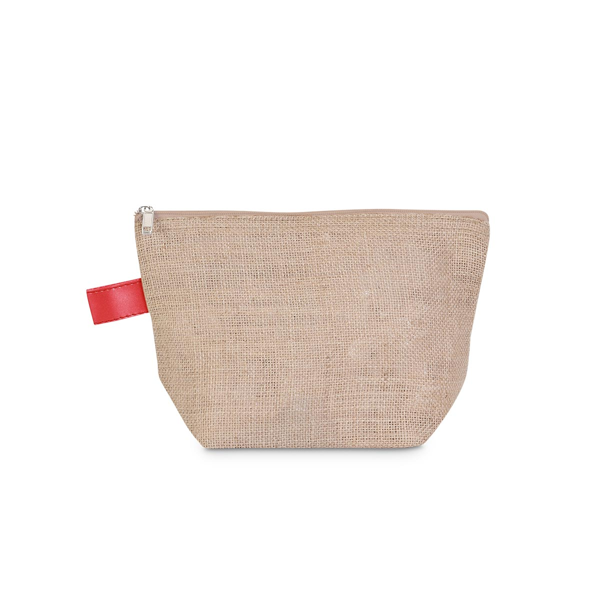 khaki jute zipper bag pouch, red trim