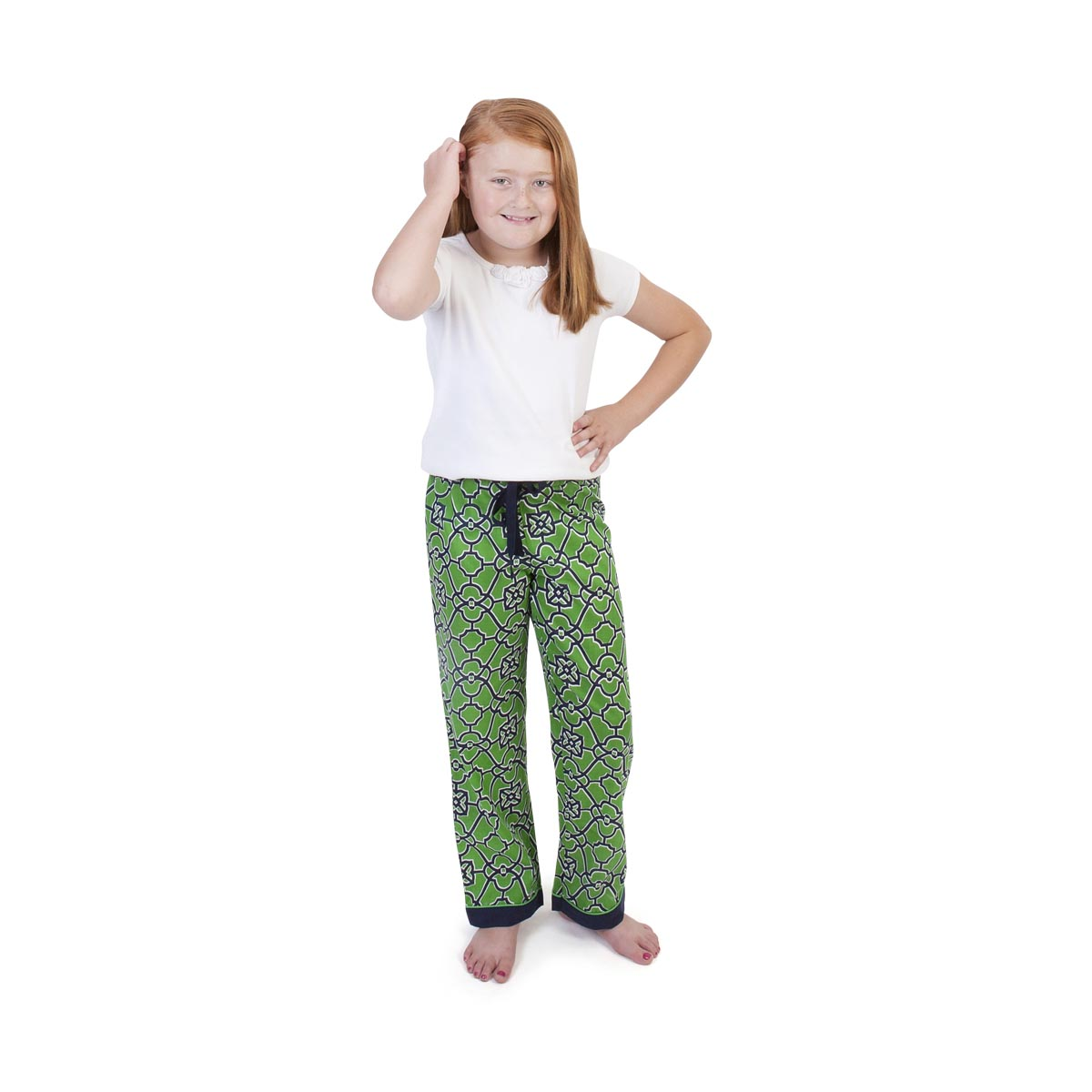 on the veranda green/navy kids lounge pants