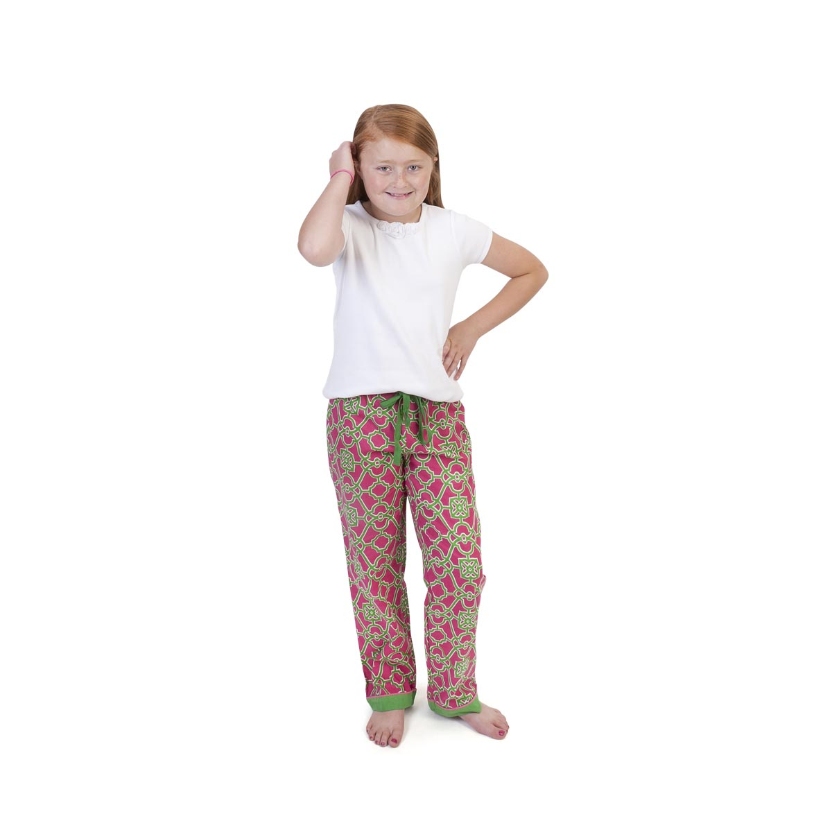 on the veranda pink/green kids lounge pants
