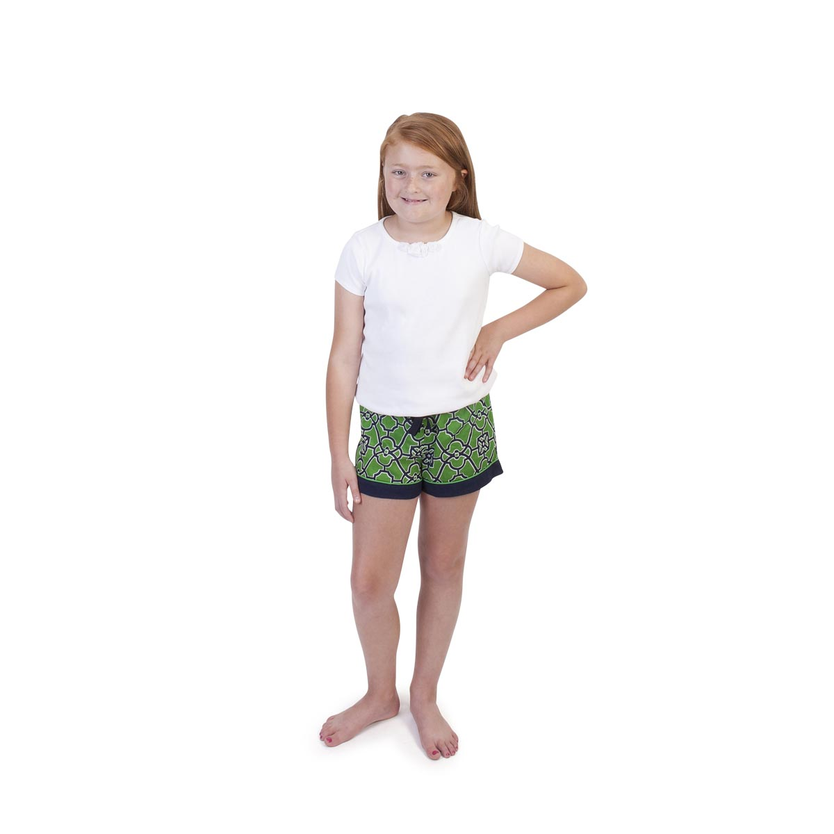 on the veranda green/navy kids lounge shorts