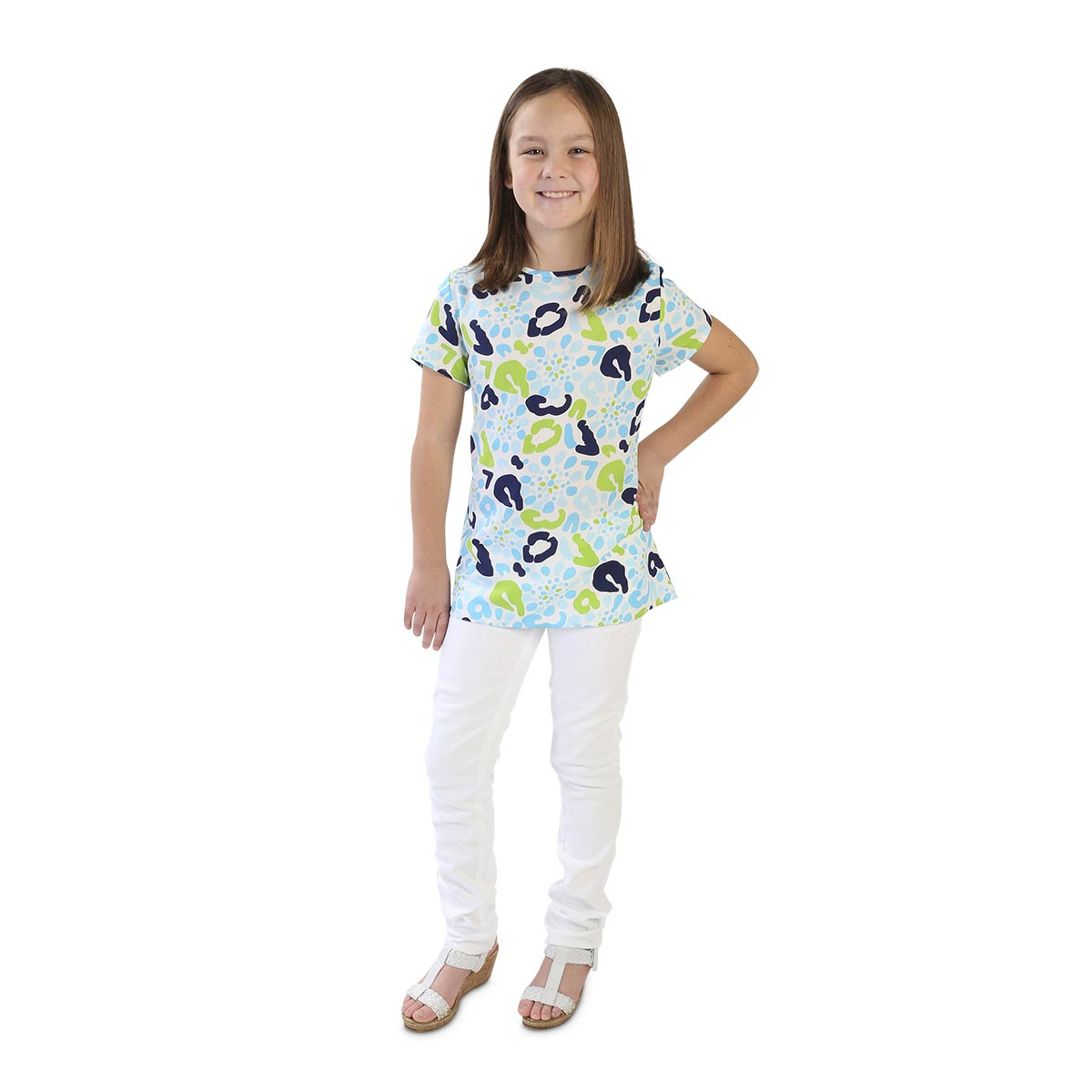 cha cha cheetah blue leah kids shirt