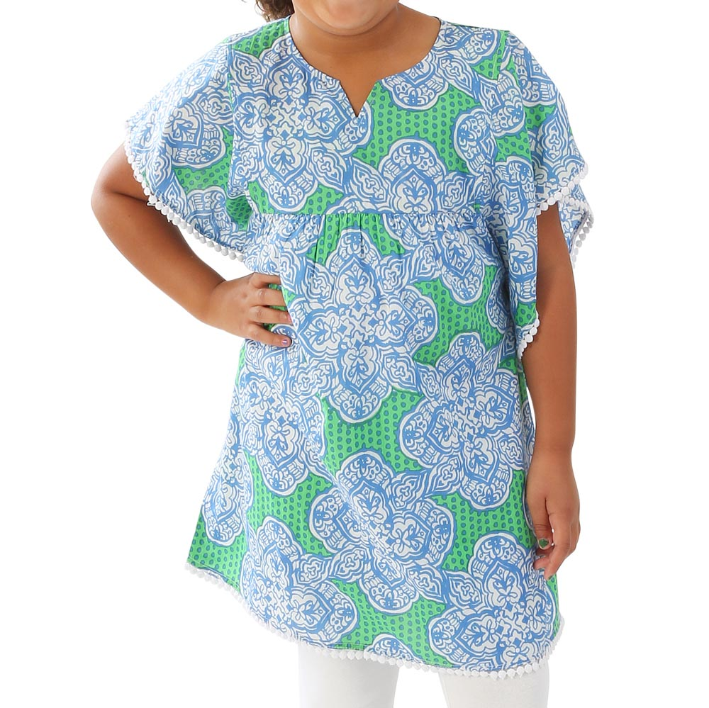 mai tai green/royal ruby kids tunic