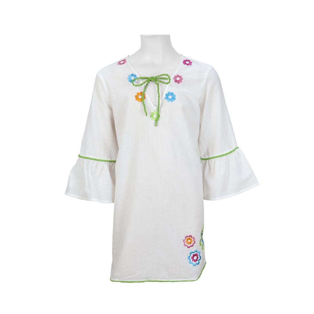 kids tunics white with emb