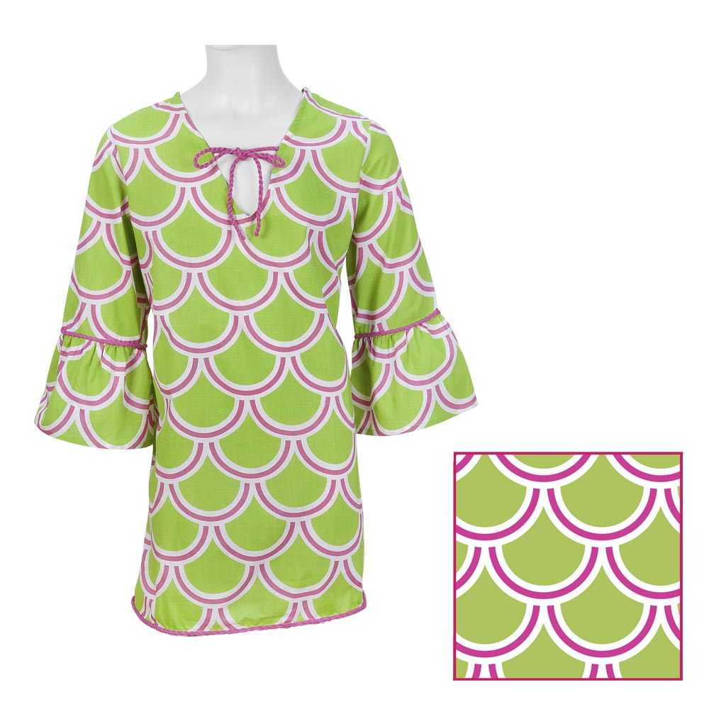 harbor bae green/pink kids drawstring tunic
