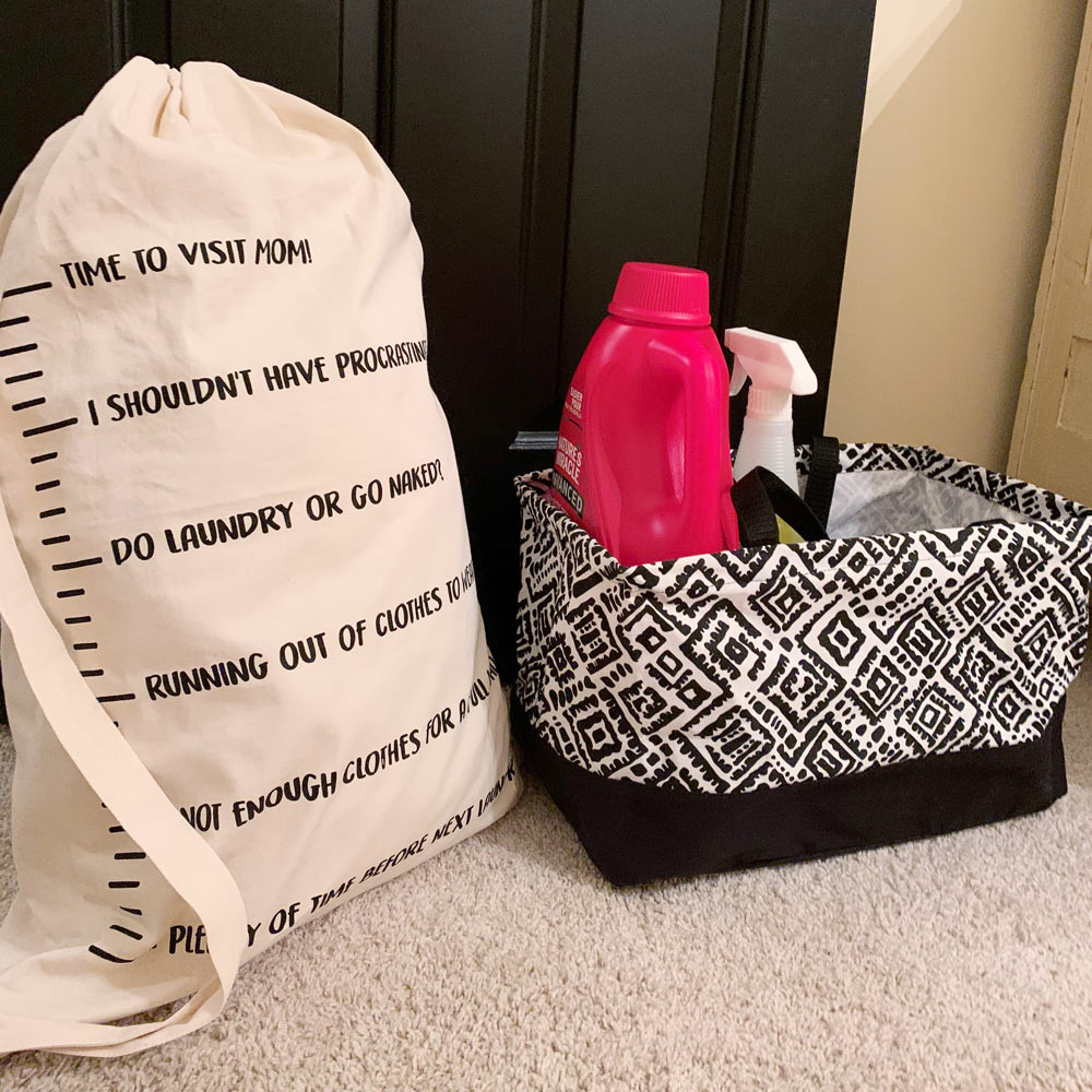 laundry bag with strap time to visit mom