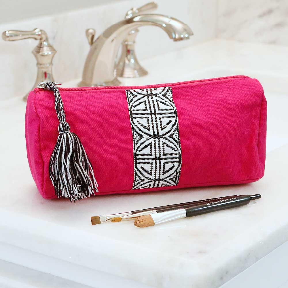 pink long cosmetic bag w/tassle