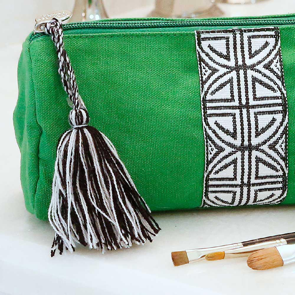 green long cosmetic bag w/tassle