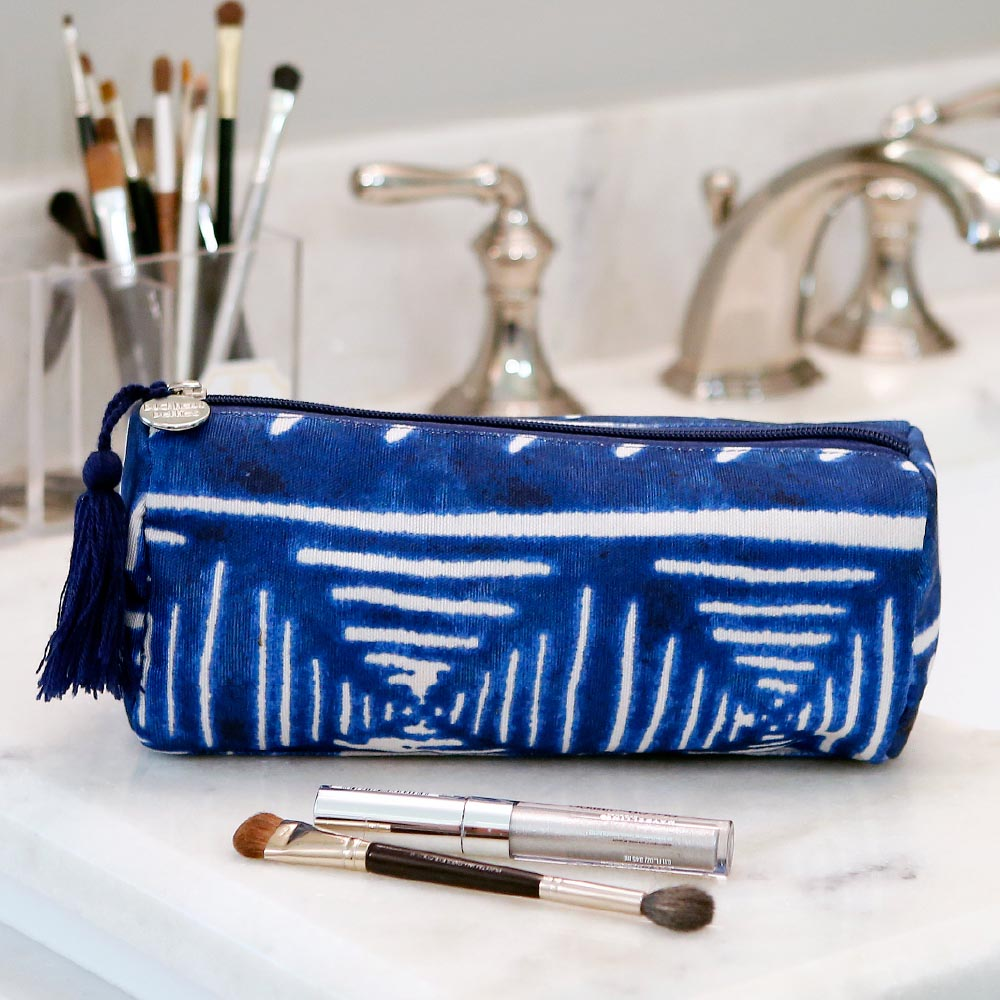 indigo daze long cosmetic bag w/tassle