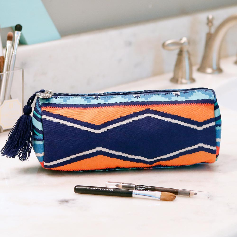 santa fe long cosmetic bag w/tassle