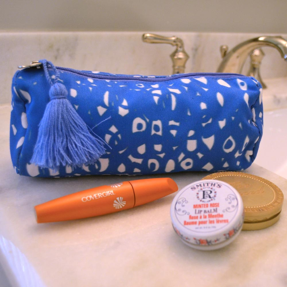 hoopla blue long cosmetic bag
