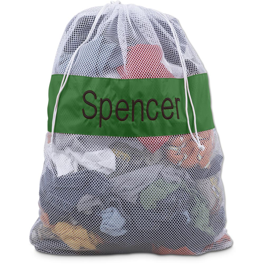 green/white large mesh laundry bag