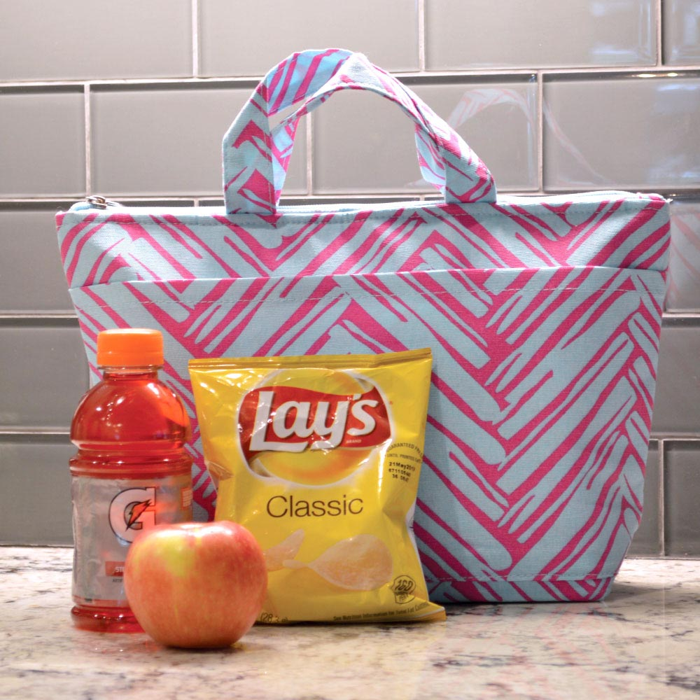 twill do pink/turq lunch tote