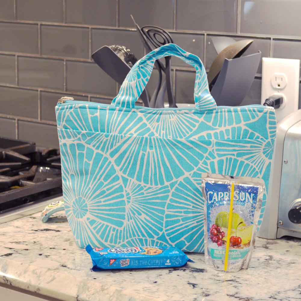 full circle turquoise lunch tote
