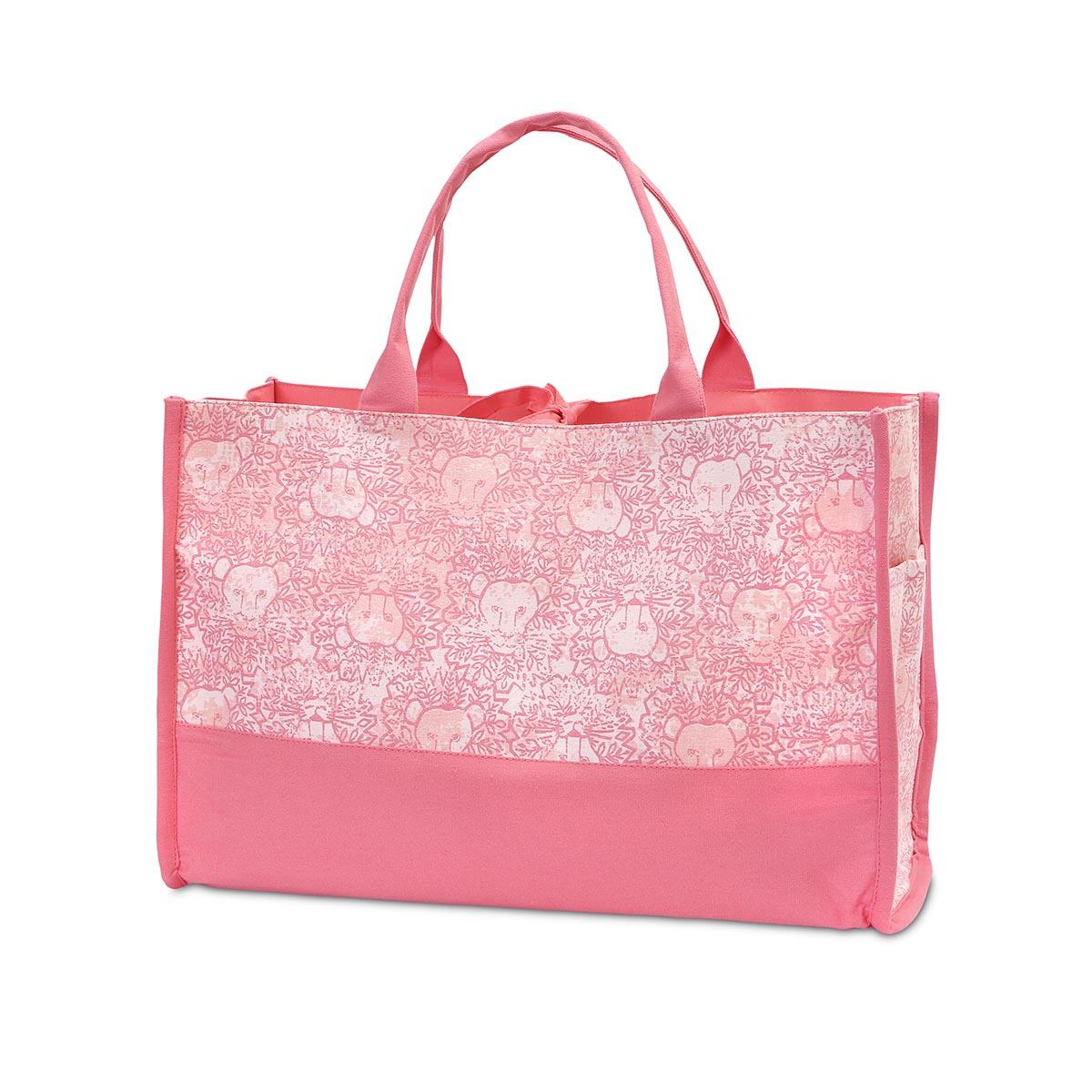 lion around pink open tote