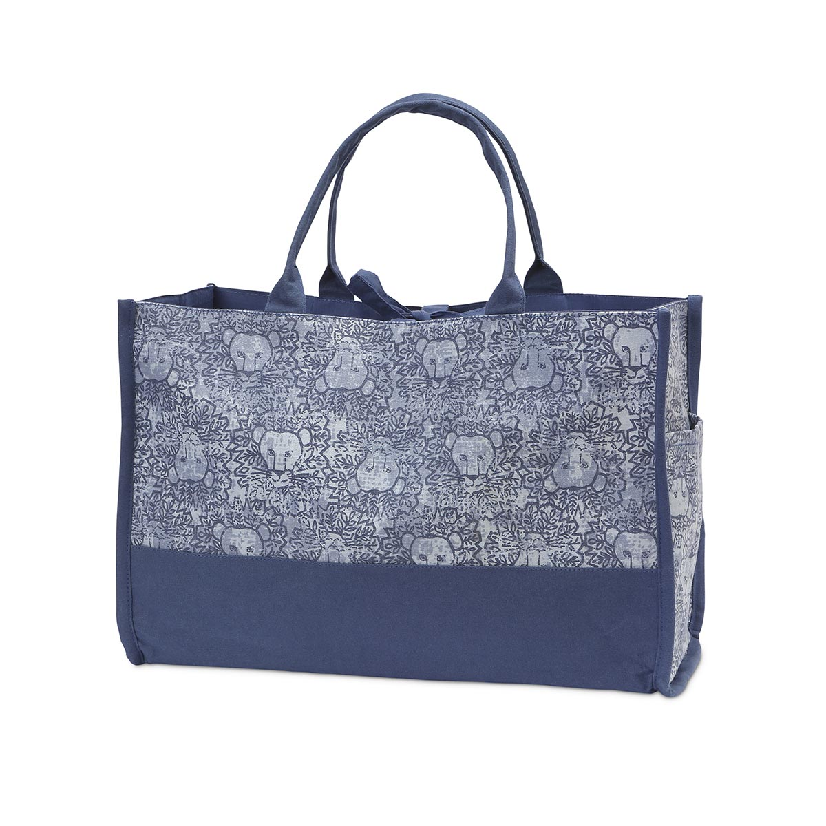 lion around blue open tote