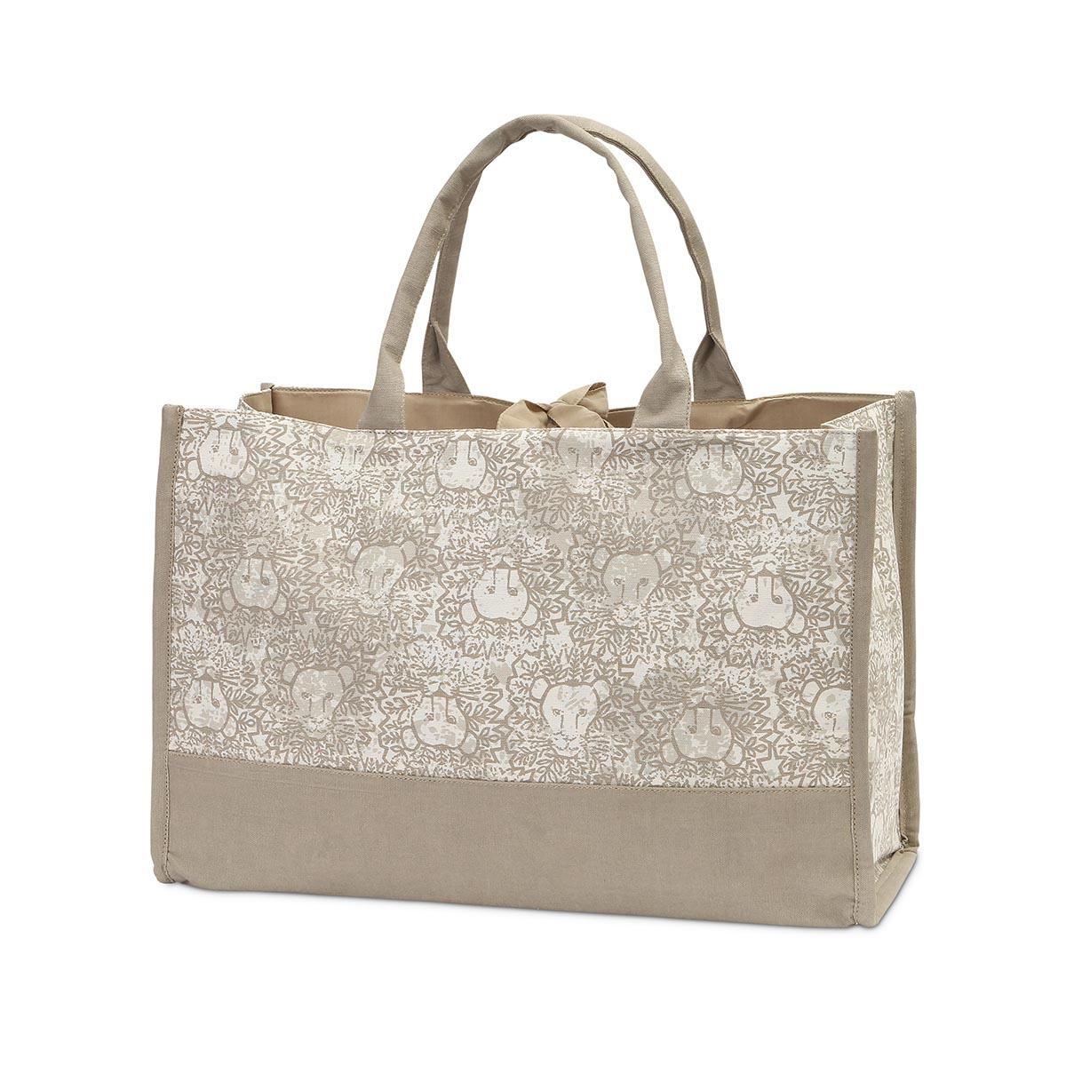 lion around khaki open tote