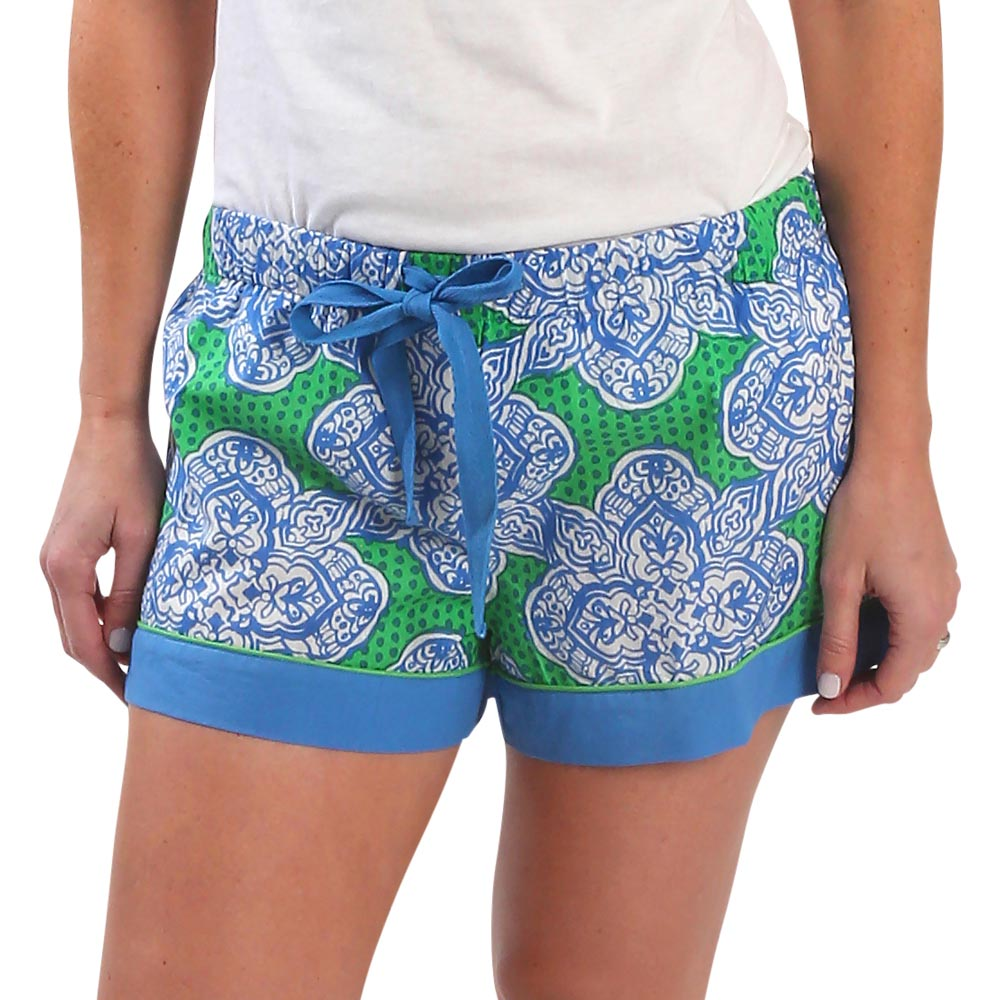 mai tai green/royal lounge shorts