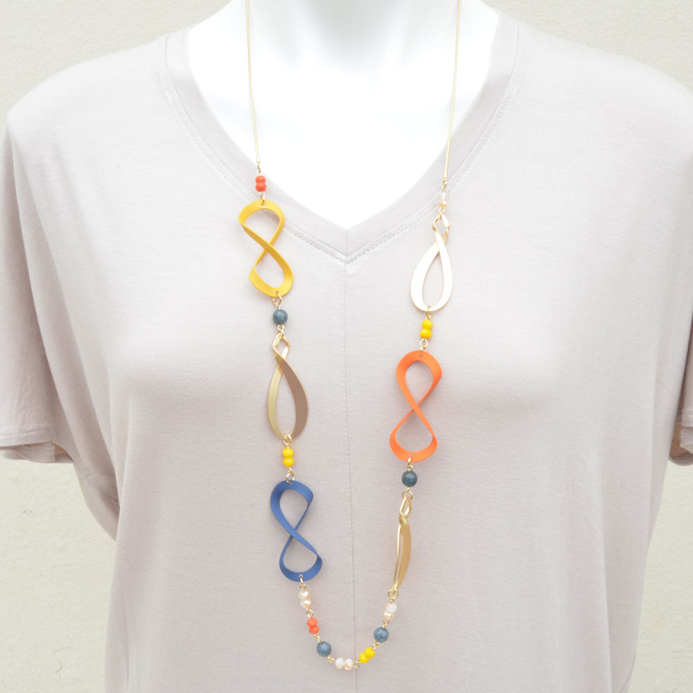 infinity yellow, orange and blue necklace