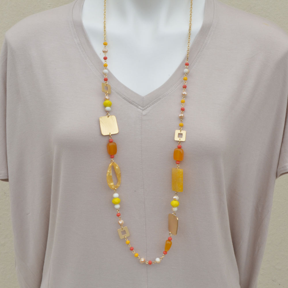 yellow and orange acrylic and stone necklace