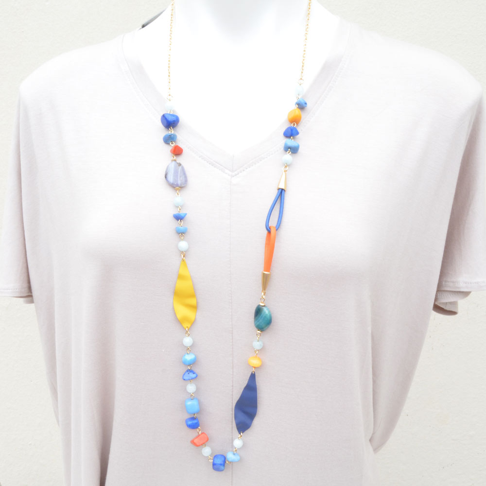 orange and blue loop necklace