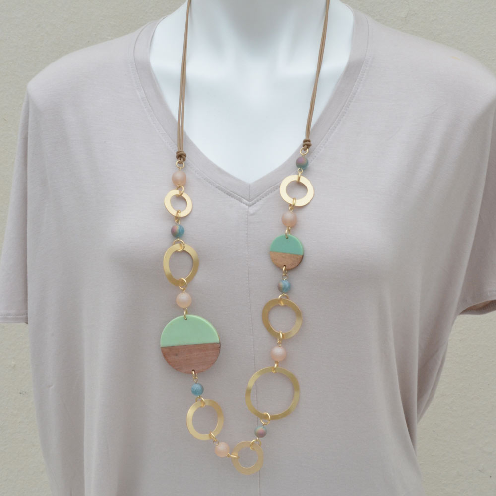 mint with wood necklace