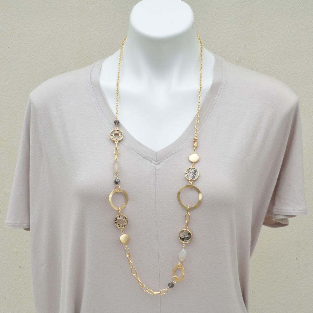 gold loop with snake accent necklace