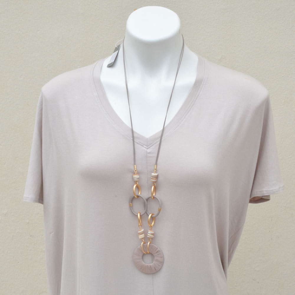 taupe rafia with leather loop necklace