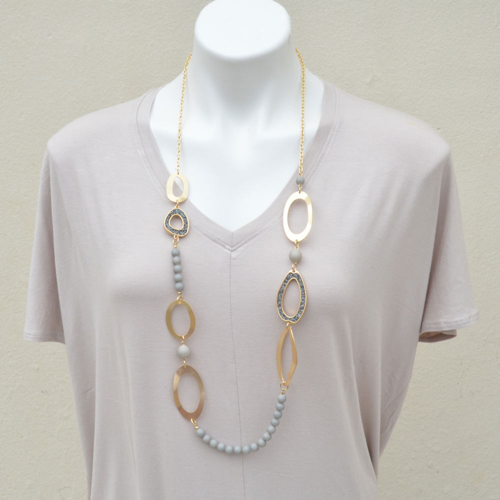 gold and grey stone bead necklace