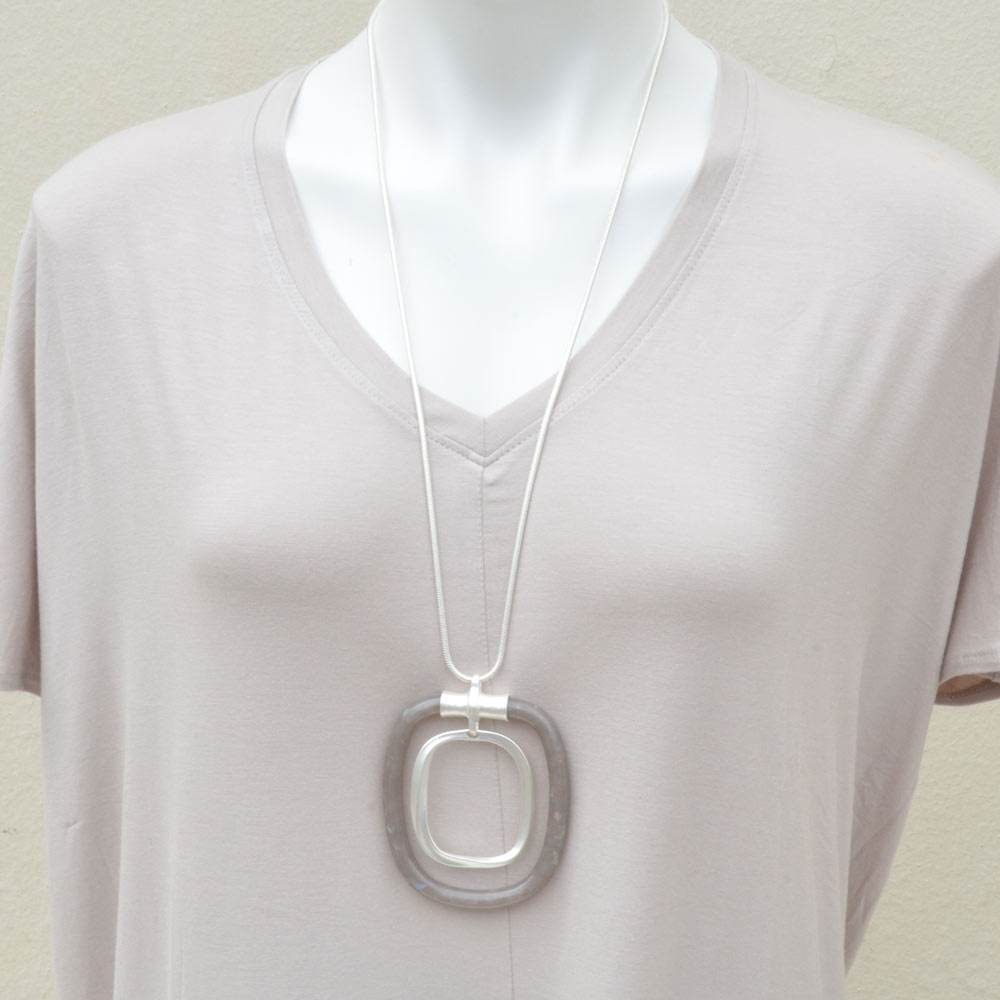 silver with grey acrylic necklace