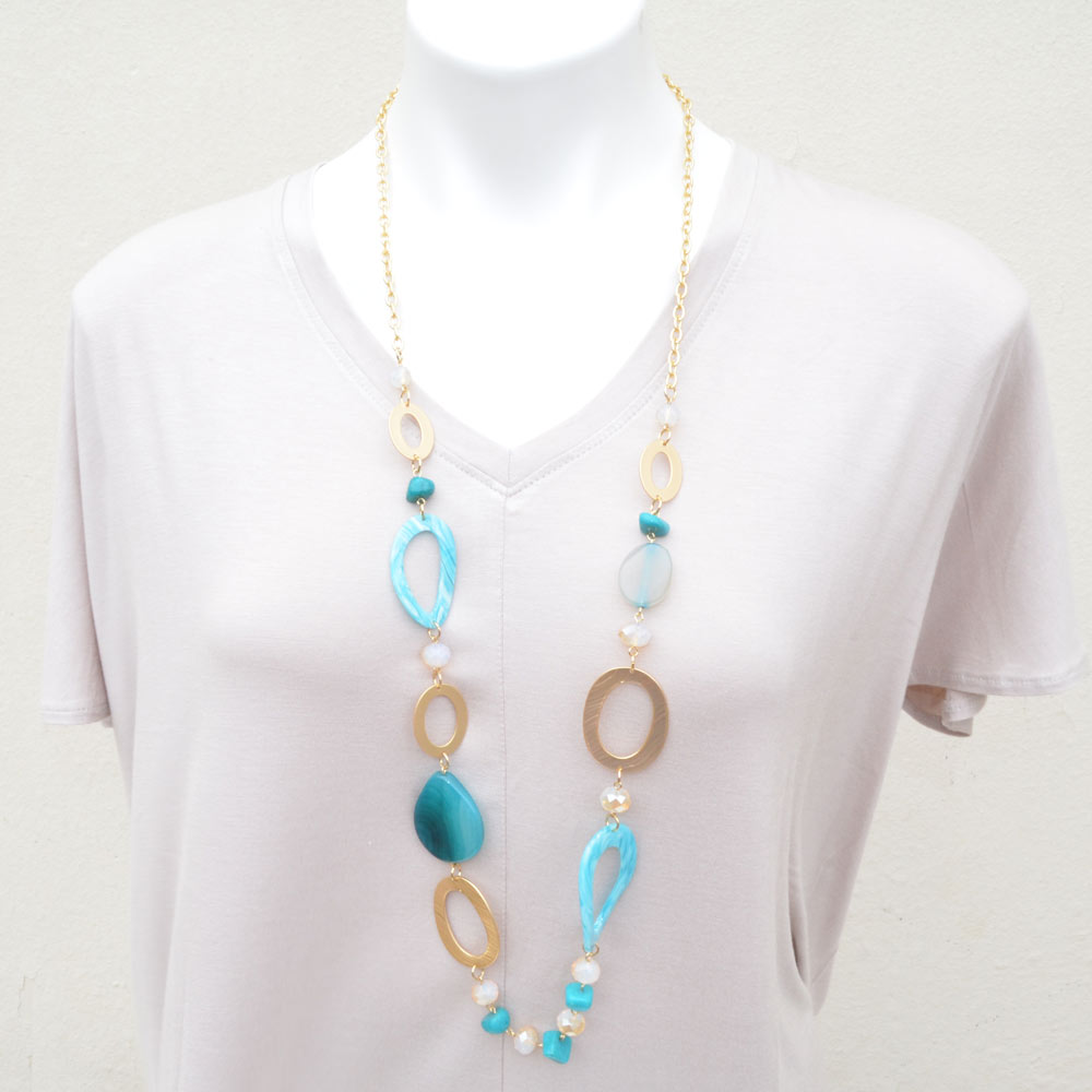 Turquoise acrylic and gold necklace