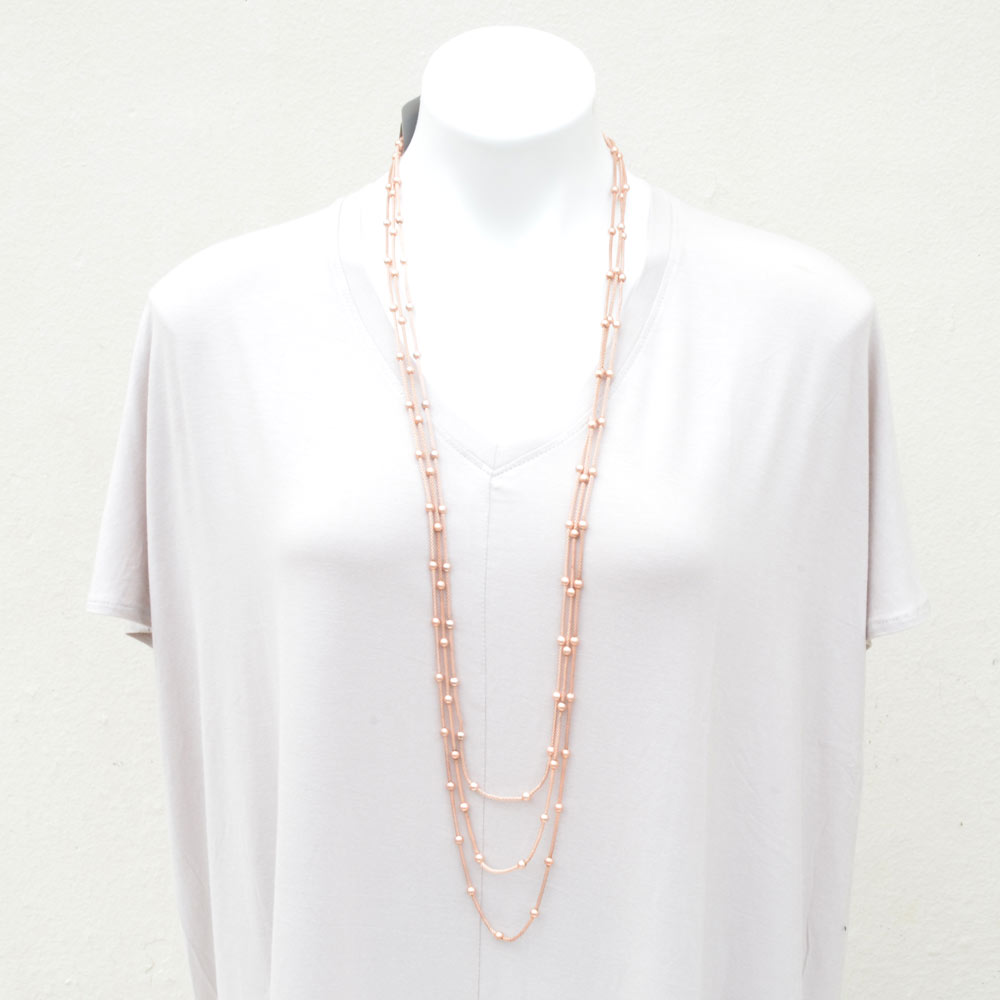 rose gold chain with bead necklace