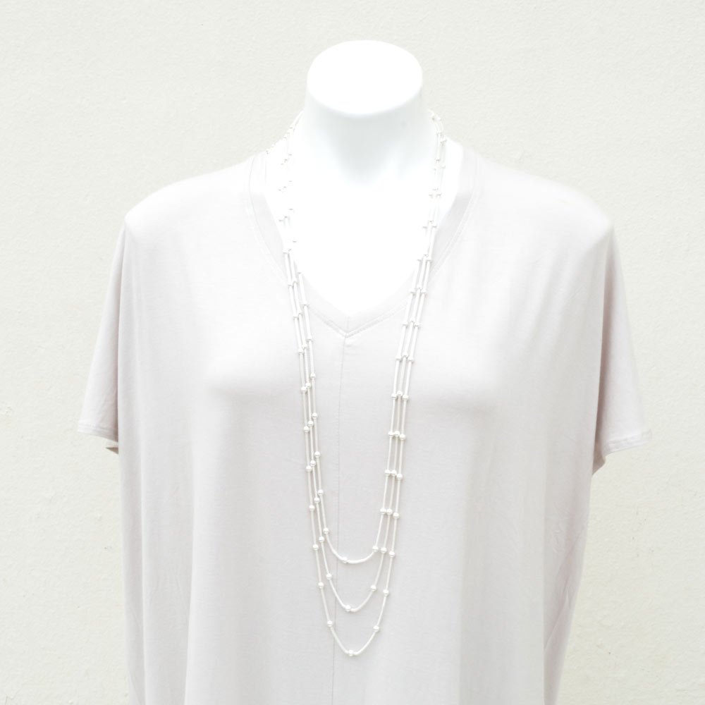 silver chain with bead necklace