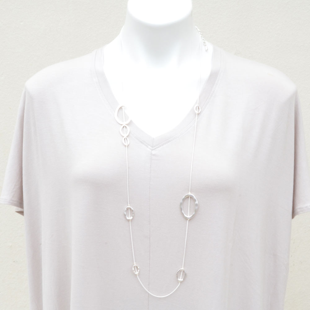 silver chain with loop necklace