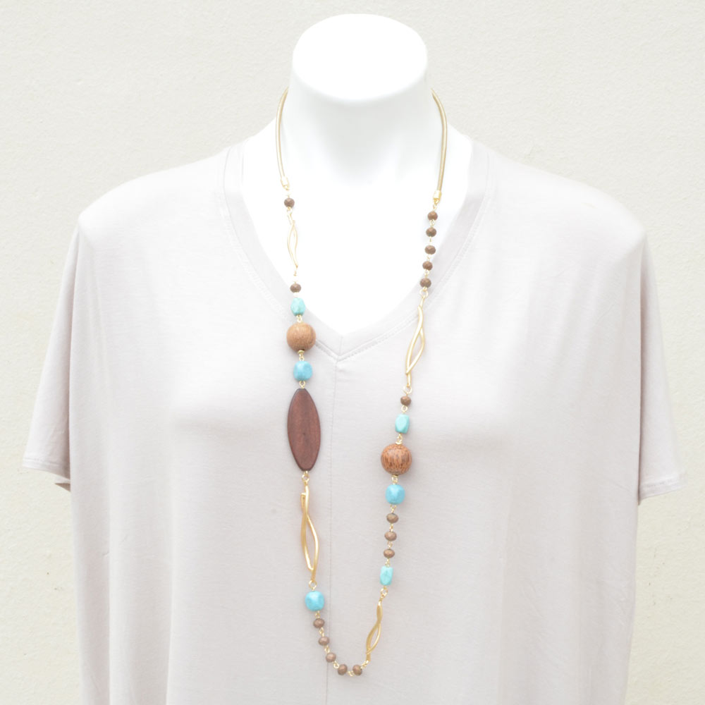 wood bead with turquoise and gold necklace