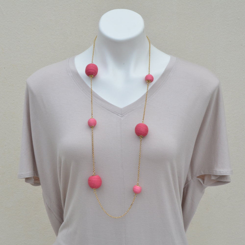 pink twine ball necklace