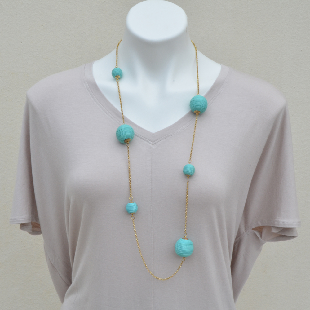 mint twine ball necklace