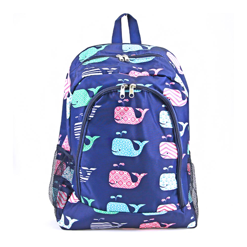 blue with whale backpack