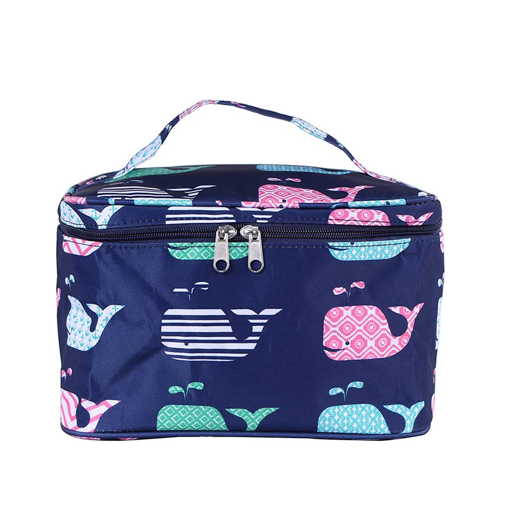 blue with whales cosmetic bag