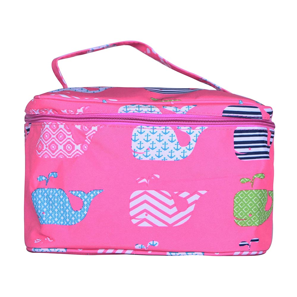 pink with whales cosmetic bag