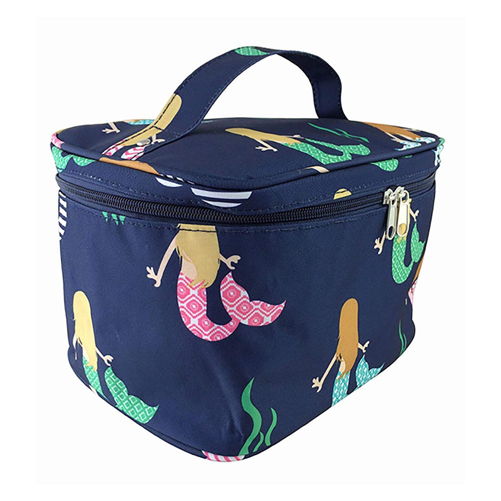blue with mermaids cosmetic bag